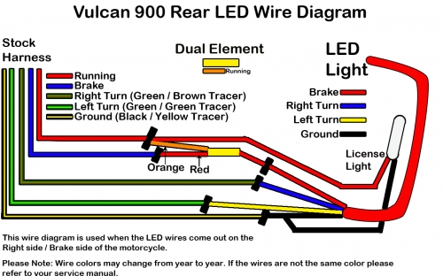 Rear Led Light Wiring Diagram: Vulcan 900 LED Brake Light and License Plate Kit u2013 Low and Meanrh:lowandmean.com,Design